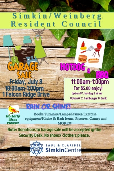 GARAGE SALE POSTER JULY 8